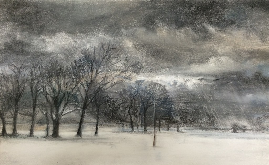 Telegraph, Trees and Snow Sketch
